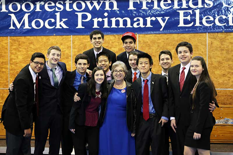 The full cast of students representing candidates for both parties in the 2016 MPE.  MFS History Teacher Judy Van Tijn, who ran MPE, is center. Photo credit to mfriends.org